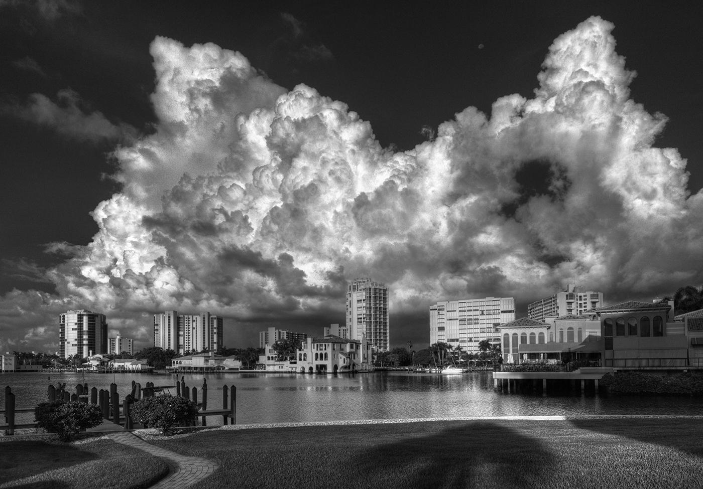 Clouds, Venetian Village 1, B&W, Naples, FL